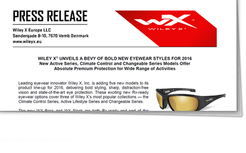 d3756aff0308 Press Releases - Wiley X EMEA LLC