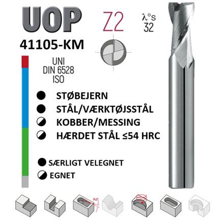 UOP 41105KM: 2-skærs HM fræsere Ø2 - Ø20 mm