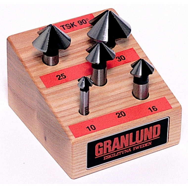 Granlund forsænkersæt  HSS 3-skærs for rustfrit stål 90°  10-30mm
