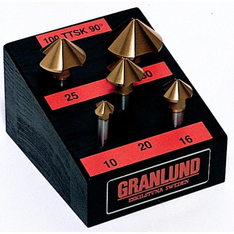 Granlund forsænkersæt  HSS TIN belagt 3-skærs 90° 10-30 mm