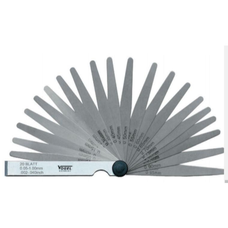 Vogel søgerstål  i sæt 0,03-1,00 mm, 32 blade 0,0012-0,040 tommer. Længde 100 mm
