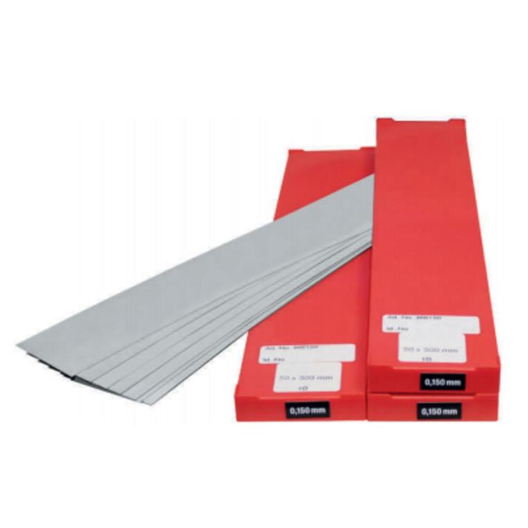 VOGEL rustfrit søgerstål i ark 150x500mm, 0,01-0,50 mm