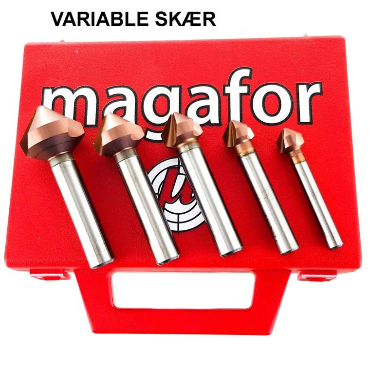 Magafor forsænkersæt 90° m/variable skær HSS-E, Red'X, 10,4-12,4-16,5-20,5 og 25,0 mm