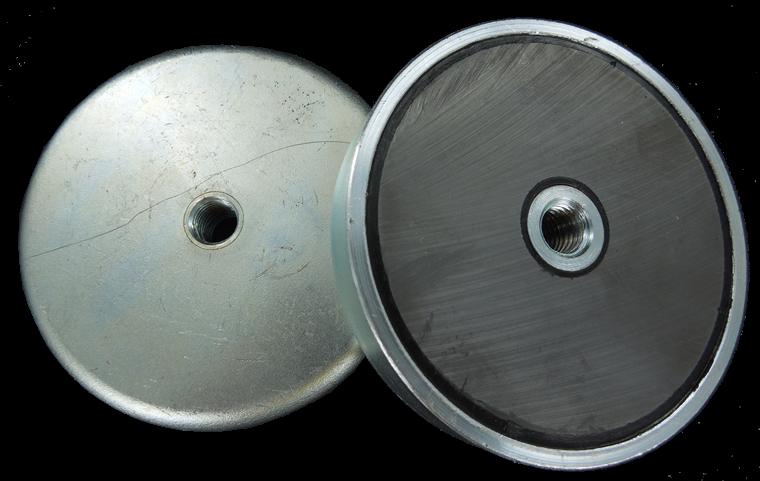 Lave Ferrit pottemagneter GALVANISERET med indvendigt gevind Ø63 - Ø80 mm