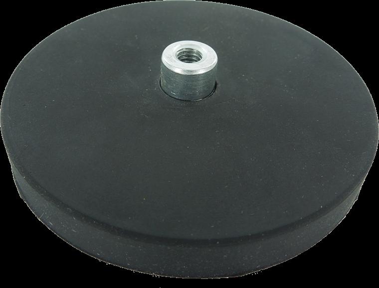 Gummibelagte pottemagneter med gevindbøsning Ø22 - Ø88 mm Neodymium