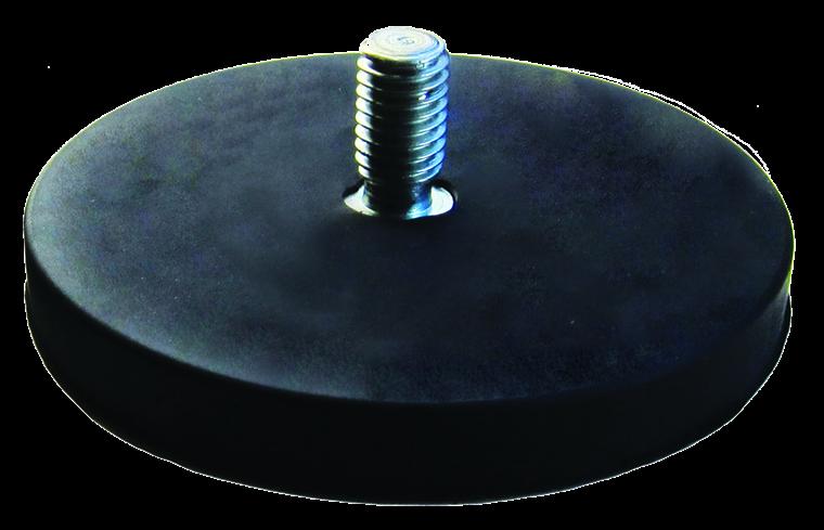Gummibelagte pottemagneter med gevindhals Ø22 - Ø88 mm Neodymium