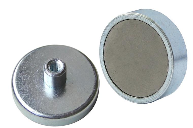 Lave pottemagneter forzinket m/gevindbøsning Ø10 - Ø125 mm, Ferritmagnet