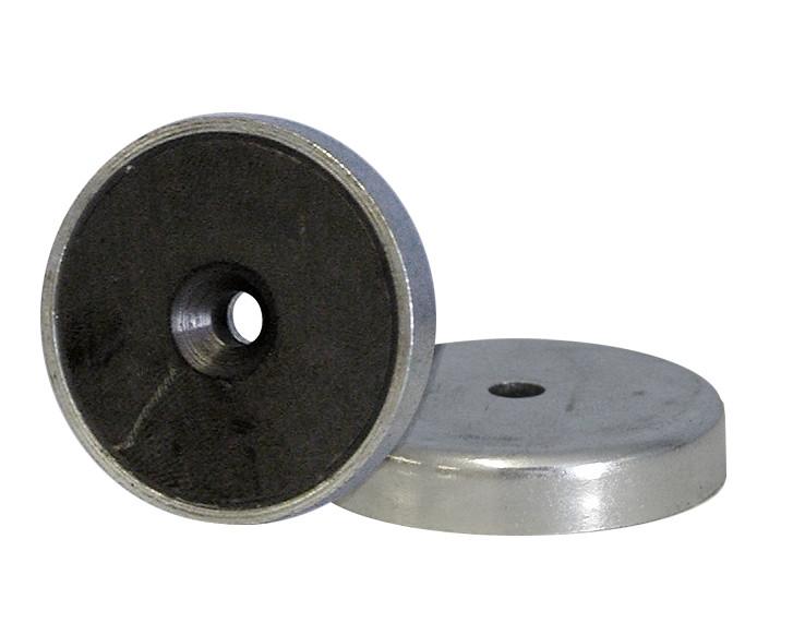 Lave pottemagneter forzinket med forsænket hul Ø20 - Ø40 mm, Ferritmagnet