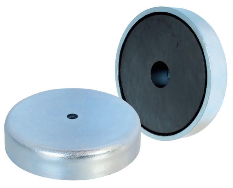 Lave pottemagneter forzinket med hul Ø50 - Ø80 mm, Ferritmagnet