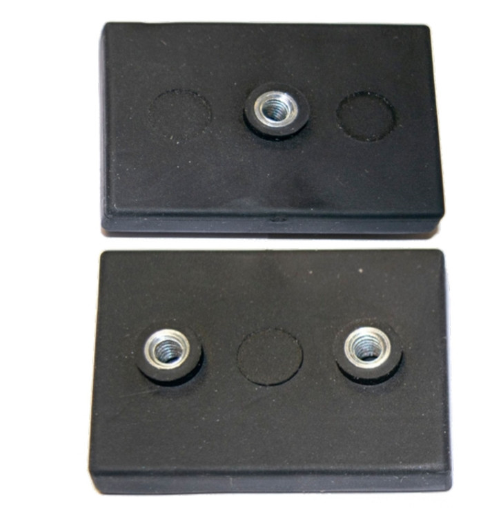 Eclipse gummibelagte rektangulære neodymium magneter med indvendigt gevind