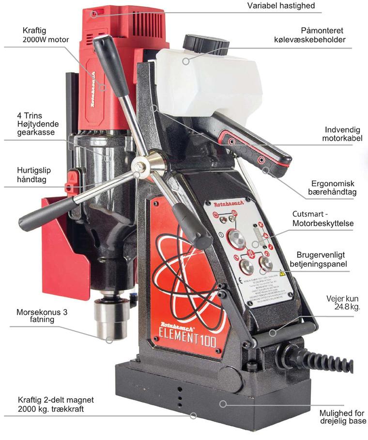 Rotabroach Magnetboremaskine Element E100 Serie nr.: