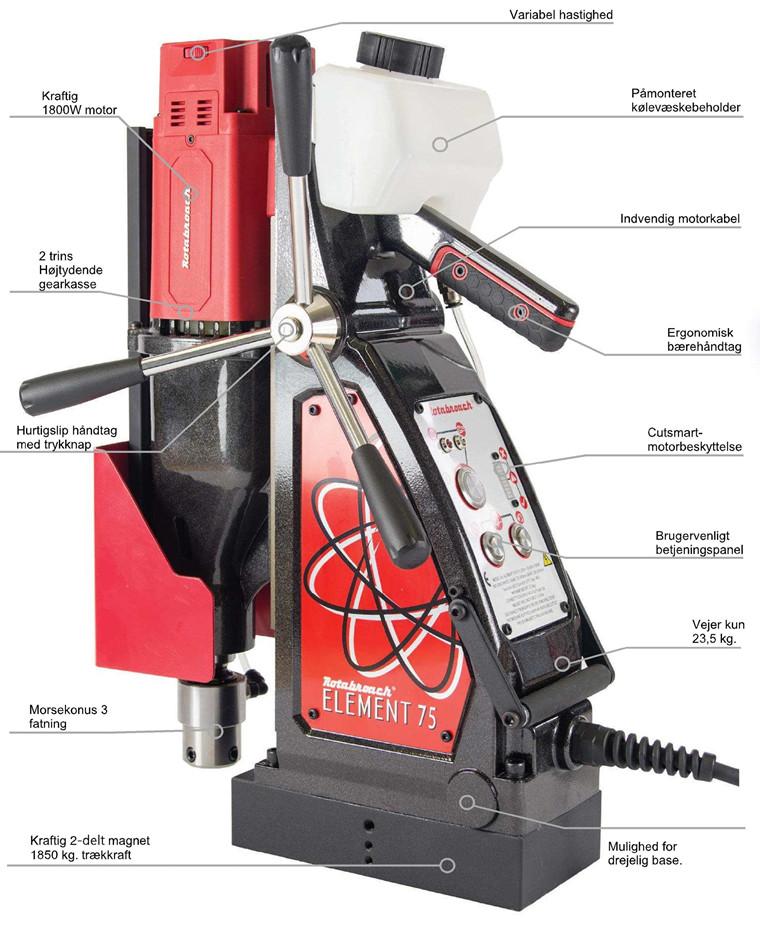 Rotabroach Magnetboremaskine Element E75 Serie nr.: