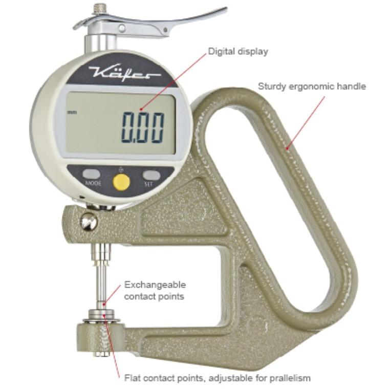 Käfer digital tykkelsesmåler  0,001mm, 0-12,5 mm Måletast  Ø10mm, RS232, FD50