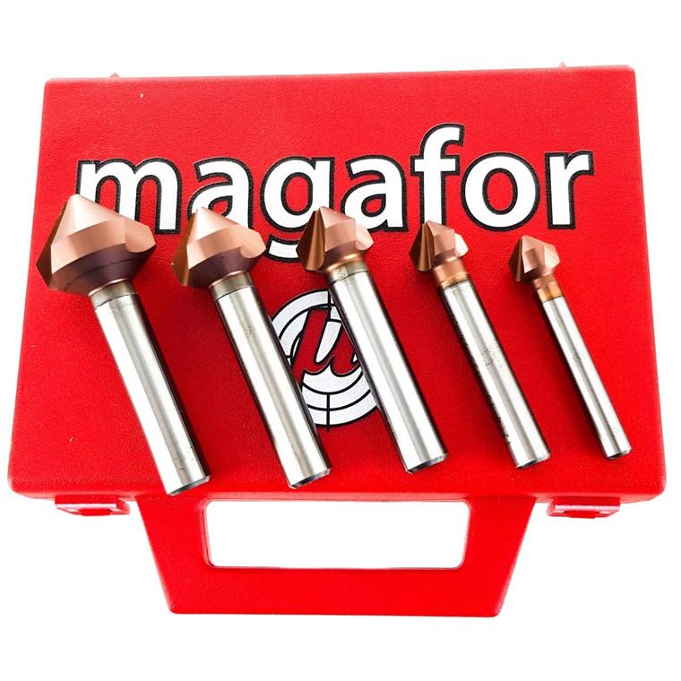 Magafor forsænkersæt 4936/2 Red'X 90º HSS/Cob. 8%, 6,3-8,3-10,4-12,4-16,5 og 20,5 mm