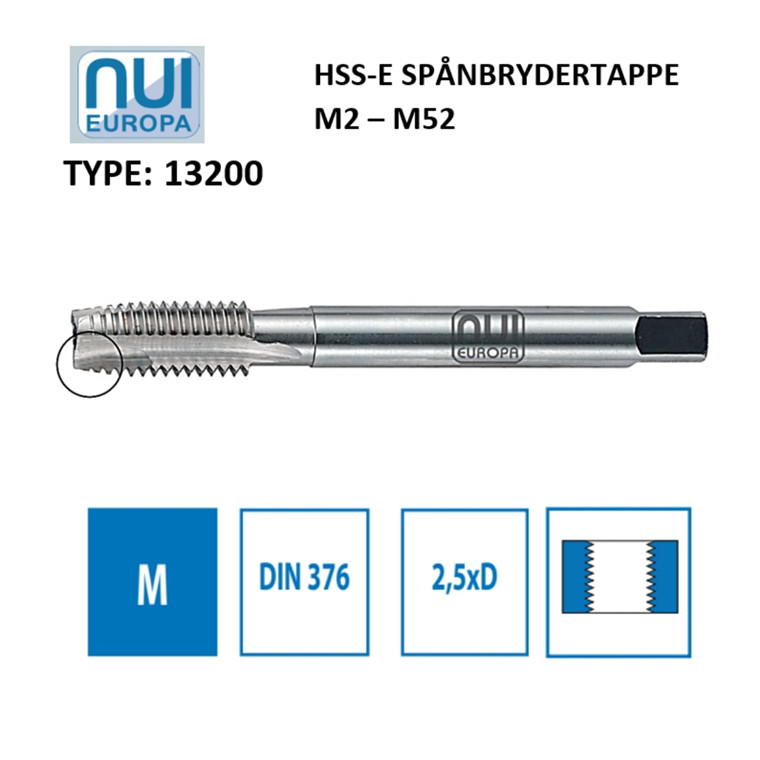 NUI Spånbrydertappe HSSE M2 - M52