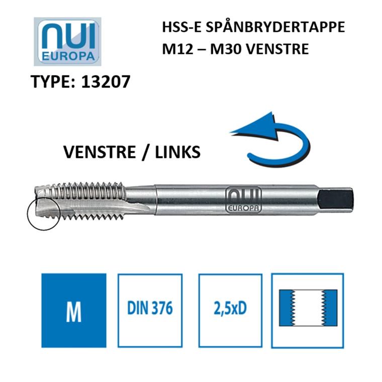 NUI Spånbrydertappe HSSE M12 - M30 venstre