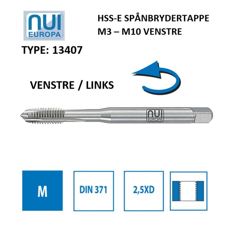 NUI Spånbrydertappe HSSE M3 - M10 venstre