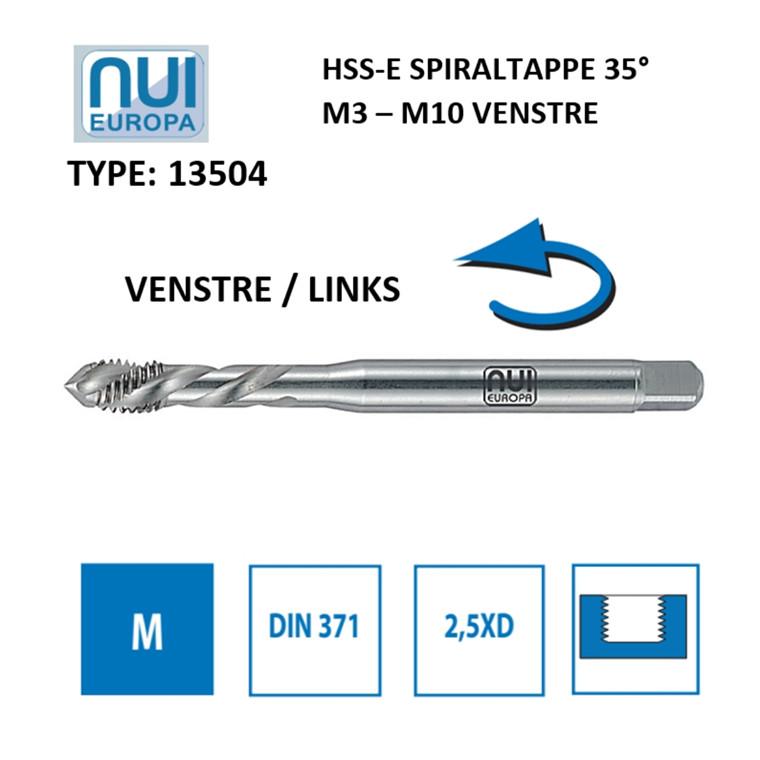 NUI Spiraltappe HSSE M3 - M10 venstre