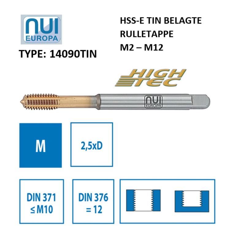 NUI Rulletappe HSSE M2 - M12 TiN belagte