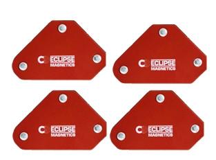 Eclipse svejsemagneter i sæt 45, 90° & 135° 59x52x12 mm, trækkraft 4 kg.