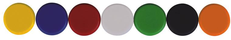 Markeringsmagneter Ø10 - Ø35 gul blå rød hvid grøn sort orange