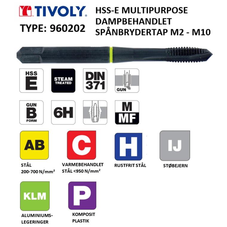 TIVOLY HSS-E spånbrydertappe MULTIPURPOSE dampbehandlede M2 - M10 DIN371