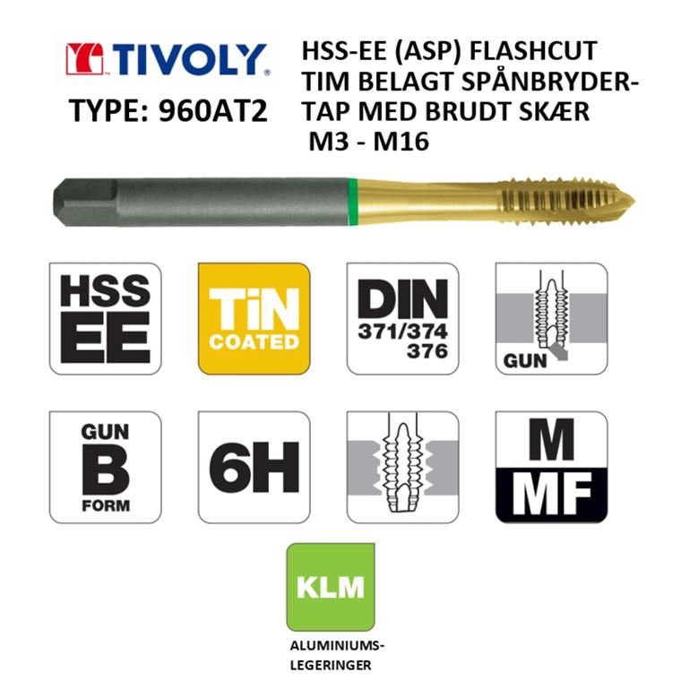 TIVOLY ALU HSS-EE spånbrydertappe FLASHCUT TiN belagt M3 - M16 DIN371/376