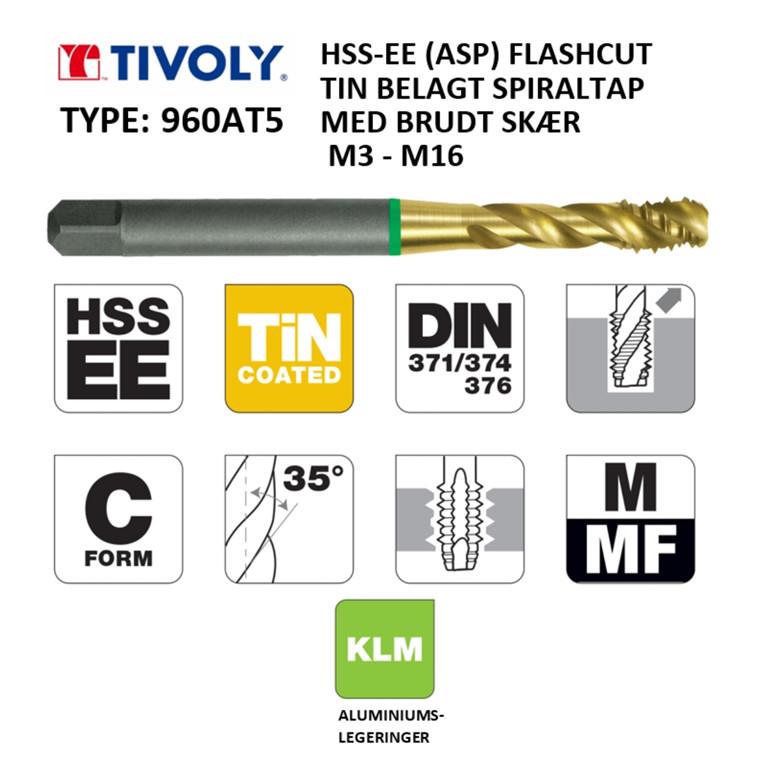 TIVOLY ALU HSS-EE spiraltappe FLASHCUT TiN belagt M3 - M16 DIN371/376