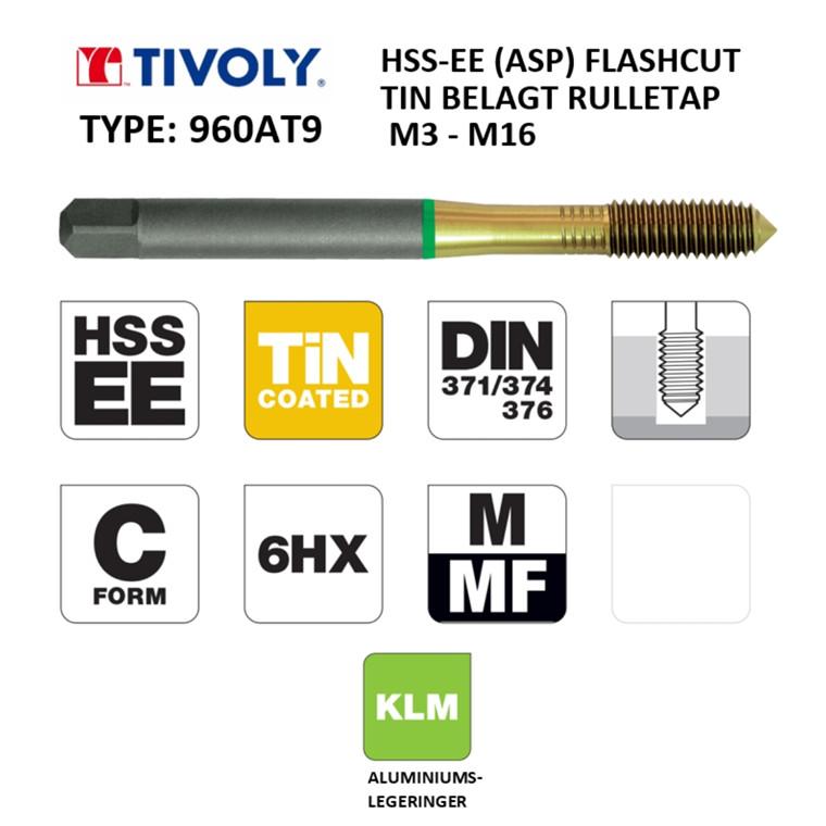 TIVOLY ALU HSS-EE rulletappe FLASHCUT TiN belagt M3 - M16 DIN371/376