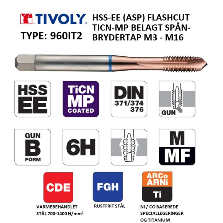 TIVOLY HSS-EE spånbrydertappe FLASHCUT TiCN-MP belagt M3 - M16 DIN371/376
