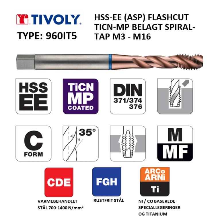 TIVOLY HSS-EE spiraltappe FLASHCUT TiCN-MP belagt M3 - M16 DIN371/376