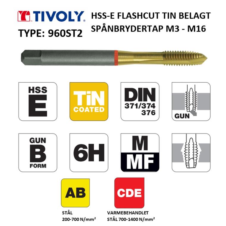 TIVOLY HSS-E spånbrydertappe FLASHCUT TiN belagt M3 - M16 DIN371/376