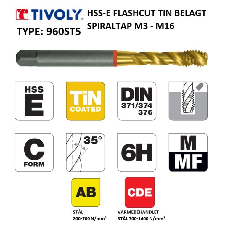 TIVOLY HSS-E spiraltappe FLASHCUT TiN belagt M3 - M16 DIN371/376