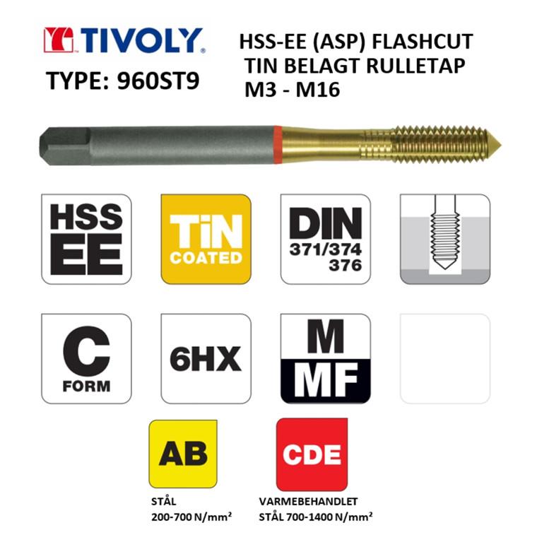 TIVOLY HSS-EE (ASP) rulletappe FLASHCUT TiN belagt M3 - M16 DIN371/376