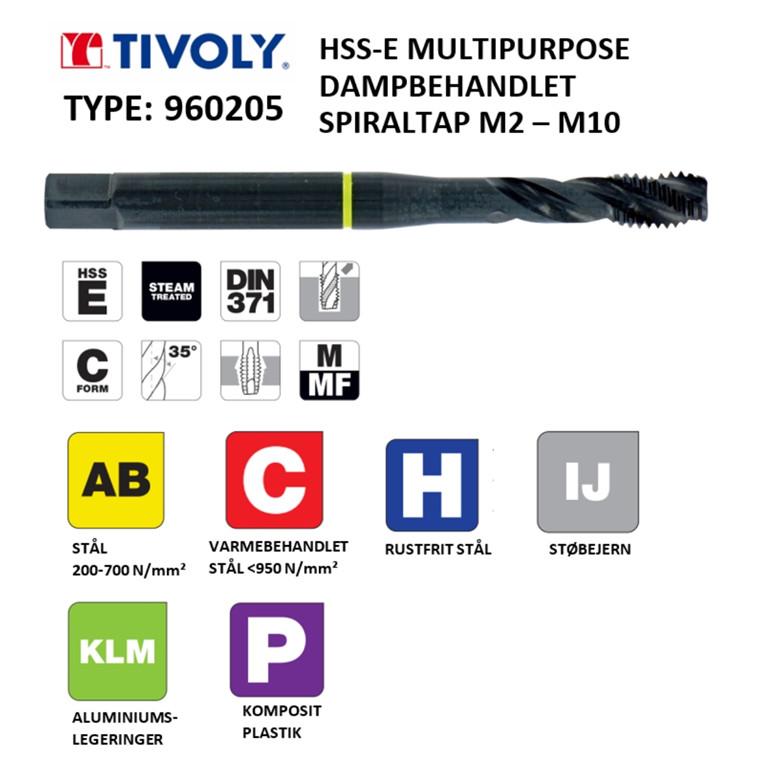 TIVOLY HSS-E spiraltappe MULTIPURPOSE dampbehandlede M2 - M10 DIN371