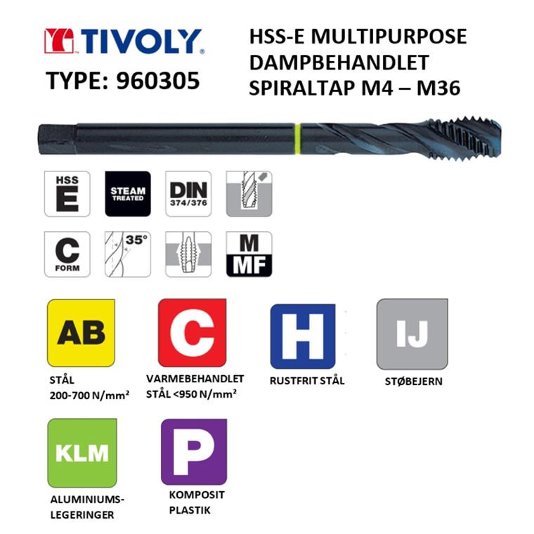 TIVOLY HSS-E spiraltappe MULTIPURPOSE dampbehandlede M4 - M36 DIN376