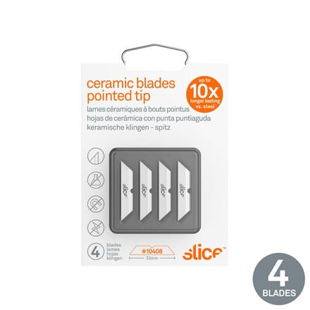 Slice® Knivblade. Spids ende 10408 4 dobbeltskærs blade i indpakningen