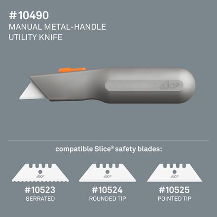 Slice® Standardkniv med metalhåndtag 10490 Inkl.bladnr 10524,  manuel, Udskif.blad