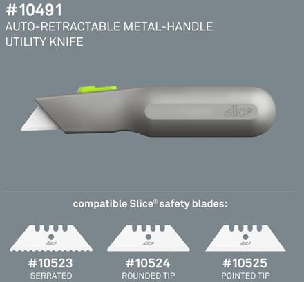 Slice® Kniv metalhåndtag auto-tilbageføring 10491 Inkl.bladnr 10524  auto-retractable Udskif.blad