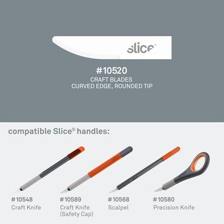 Slice® Knivblade. Buede med rund ende 10520 4 enkeltskærs blade i indpakningen