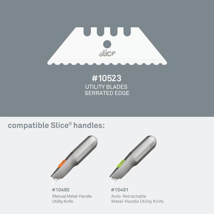 Slice® Knivblad. Savtakket 10523 til skæring 2 enkeltskærs blade i indpakningen
