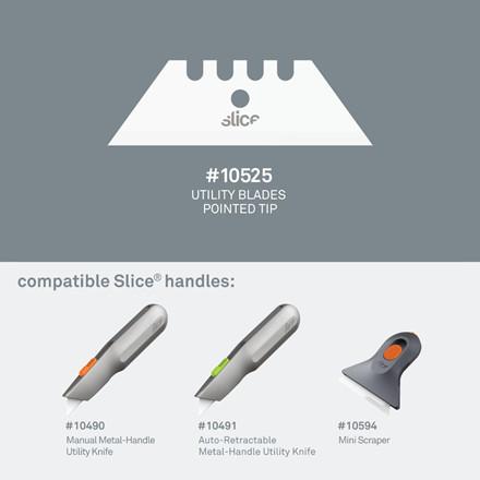 Slice® Knivblad 10525 spidst til standardkniv 2 enkeltskærs blade i indpakningen