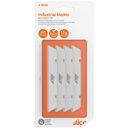 Slice® Knivblad. Lang med rund ende 10538 4 blade i indpakningen