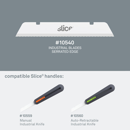 Slice® Knivblad. Savtakket, lang spids 10540 4 enkeltskærs blade i indpakningen