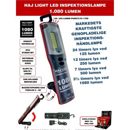 HAJ LIGHT Genopladelig Inspektionslampe 1080/500 Lumen + 250/125 Lumen IP54