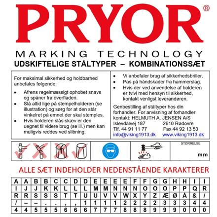 PRYOR Kombinationssæt standard med 100 typer