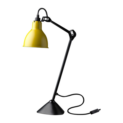Lampe Gras 205 Bordlampe Sort-Gul fra DCW Éditions