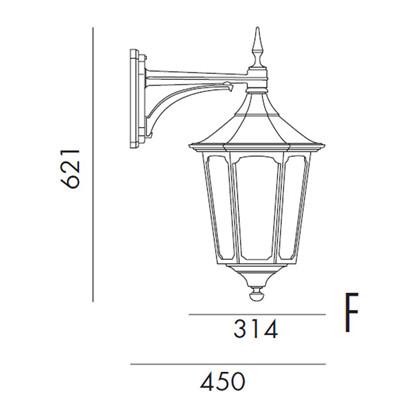 Cardinal Udendørs Væglampe Model F fra Noral
