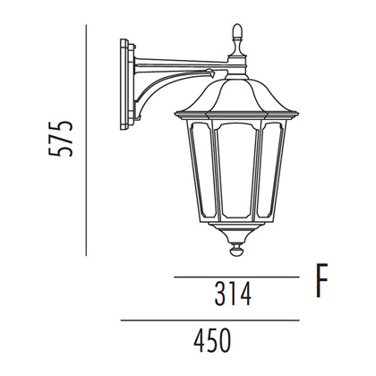 Plaza Udendørs Væglampe Model F fra Noral