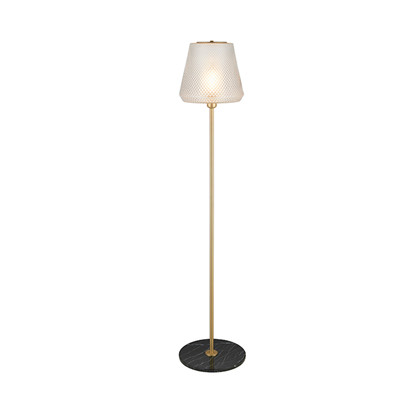 DAMN FASHIONISTA floor lamp Ø30 clear/brass Gulvlampe - Watt A Lamp